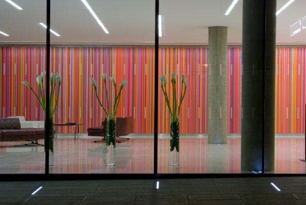 Ian Davenport, QUBE building, 90 Whitfield Street, curator Kate Sweeney